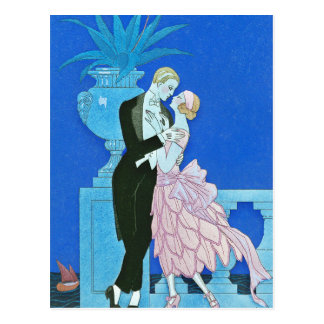 Midnight Kiss Art Deco Postcard