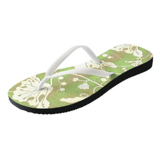 Midnight Lace - An Abstract Floral Swirl in Green Flip Flops