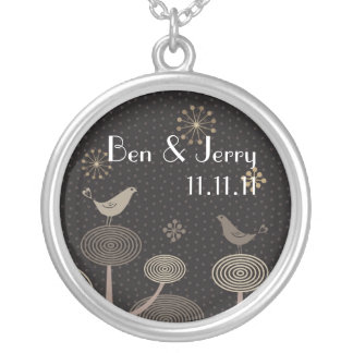 Midnight Love Birds Save The Date Pendant