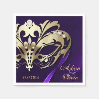 Midnight Masquerade Purple Wedding Napkin