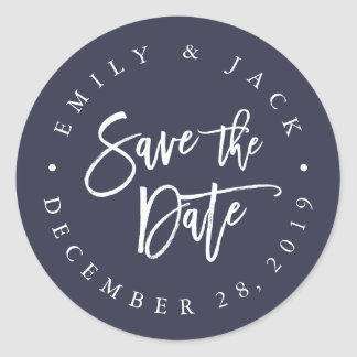 Midnight | Modern Brush Lettered Save the Date Classic Round Sticker