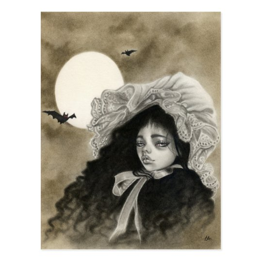 Midnight Moon  vintage girl postcard