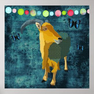Midnight Moonlight Aoudad Poster