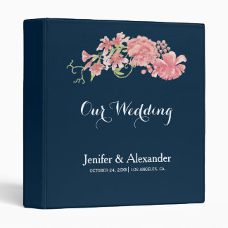 Midnight navy floral blush peonies wedding vinyl binder