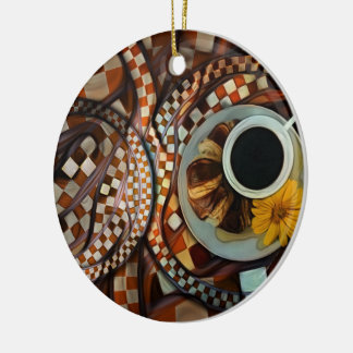 Midnight Never Ends, a Red Checkered Diner Fractal Ceramic Ornament