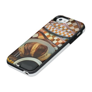 Midnight Never Ends, a Red Checkered Diner Fractal iPhone SE/5/5s Battery Case
