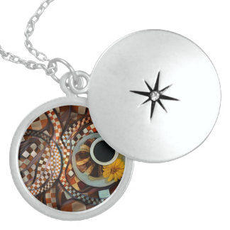 Midnight Never Ends, a Red Checkered Diner Fractal Locket Necklace
