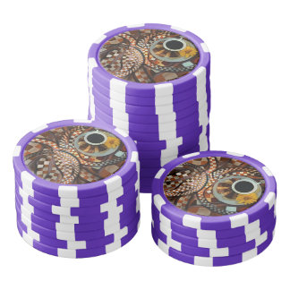 Midnight Never Ends, a Red Checkered Diner Fractal Poker Chip Set