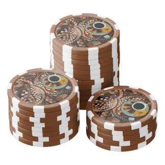 Midnight Never Ends, a Red Checkered Diner Fractal Poker Chips