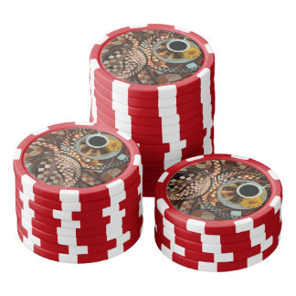 Midnight Never Ends, a Red Checkered Diner Fractal Set Of Poker Chips