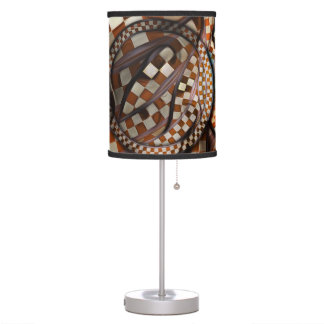 Midnight Never Ends, a Red Checkered Diner Fractal Table Lamp