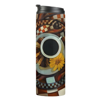 Midnight Never Ends, a Red Checkered Diner Fractal Thermal Tumbler