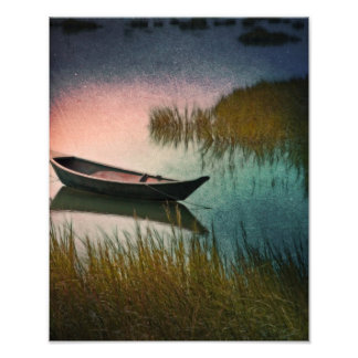 Midnight Paddle In Indigo Teal And Pink Photo Art