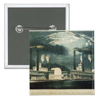 Midnight Race on the Mississippi, 1875 2 Inch Square Button