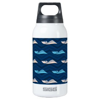 Midnight, Sky Blue, Tan, Speed Boat Chevron Insulated Water Bottle
