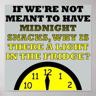 Midnight Snacks Fridge Light Funny Poster Sign