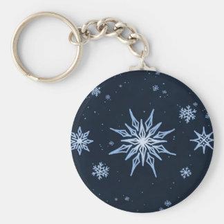 Midnight Snowflakes Sketch Basic Round Button Keychain