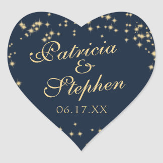 Midnight Stars Twinkle Wedding Heart Sticker