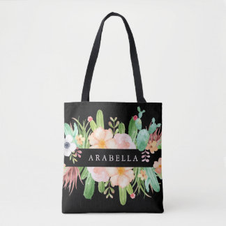 Midnight Succulent Flowers Tote Bag