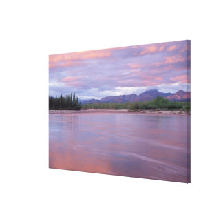 midnight sun over the MacKenzie River, off the Canvas Print