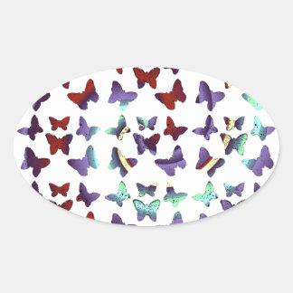 Midnight Swirl Butterfly Pattern Oval Sticker