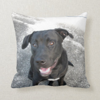 Midnight the Black Lab Smiles Throw Pillow