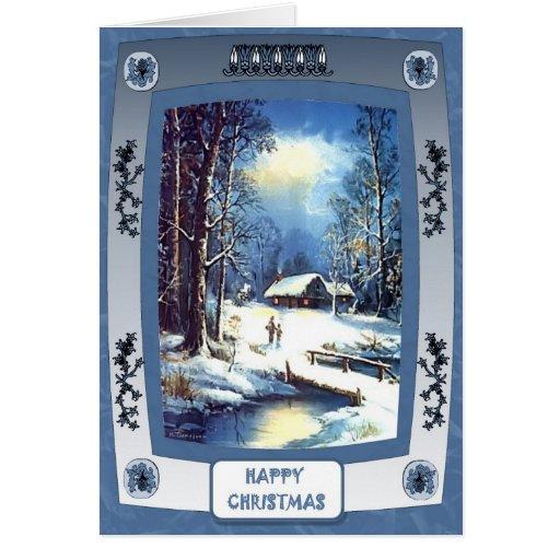 Midnight village greeting card