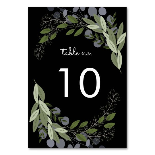 Midnight Wedding Sprigs Table No. Card