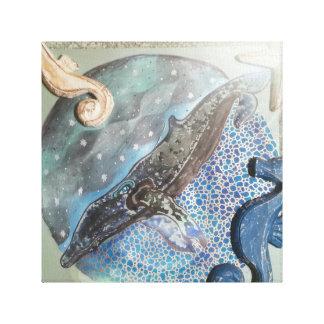Midnight whale canvas print