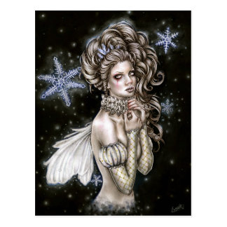 Midnight winter fairy postcard