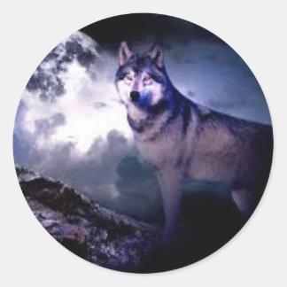 Midnight Wolf Classic Round Sticker