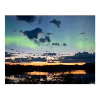 Midsummer Aurora borealis over Lake Laberge, Yukon Postcard