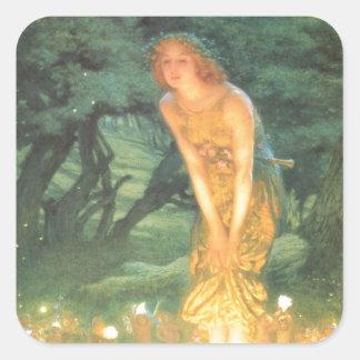 Midsummer Eve Fairy Circle Square Sticker