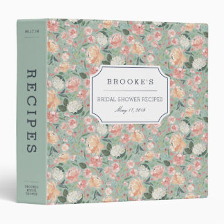 Midsummer Floral Bridal Shower Recipe 3 Ring Binder