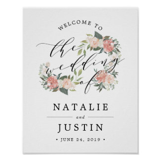 Midsummer Floral Wedding Welcome Sign