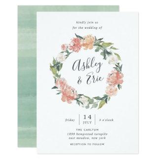 Midsummer   Floral Wreath Wedding Invitation
