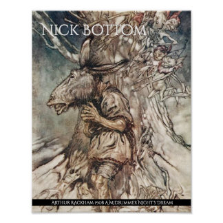 Midsummer Night's Dream Bottom Arthur Rackham Poster