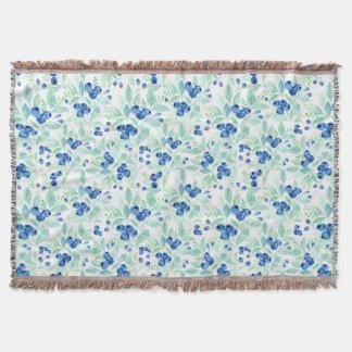 Midsummer Rustic Blueberry Berry Summer Pattern 1 Throw Blanket