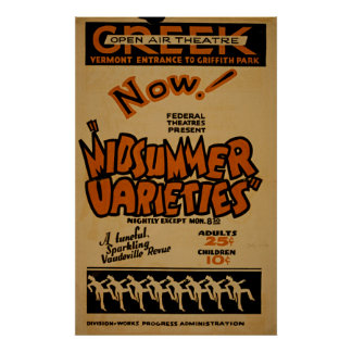 Midsummer Varieties WPA Vintage Theatre Poster
