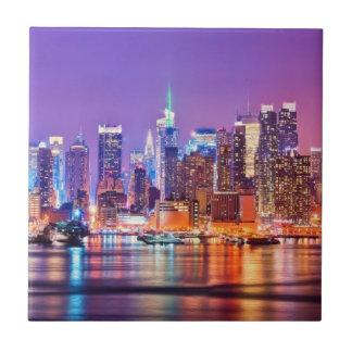 Midtown Manhattan at night with Empire Stae Ceramic Tile