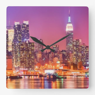 Midtown Manhattan at night with Empire Stae Square Wall Clock