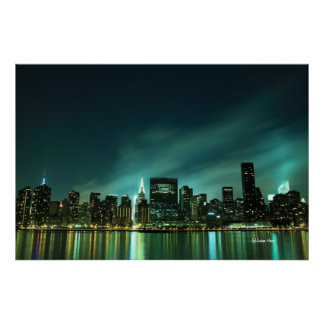 Midtown Manhattan skyline at Night Lights, NYC Poster