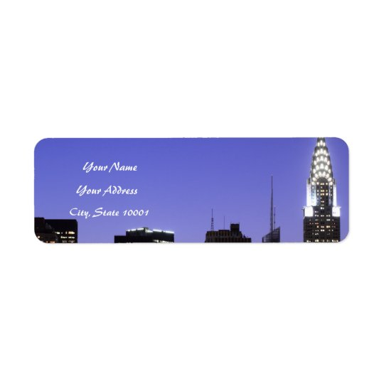 Midtown Manhattan skyline at Night Lights Return Address Label