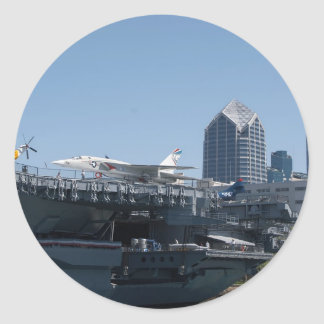 Midway Aircraft Carrier Docked In San Diego Classic Round Sticker