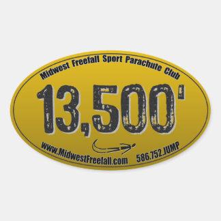 Midwest Freefall 13-5 Sticker, Gold & Black Oval Sticker