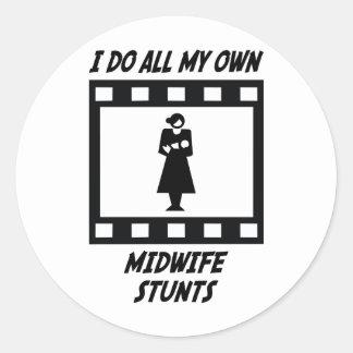 Midwife Stunts Classic Round Sticker