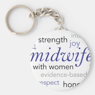midwife word cloud basic round button keychain