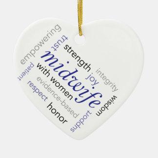 midwife word cloud ceramic heart ornament