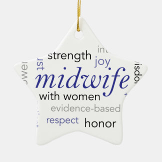 midwife word cloud ceramic ornament
