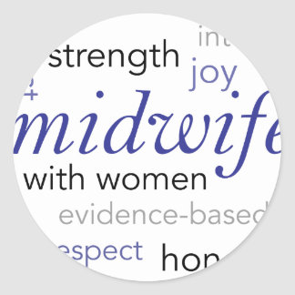 midwife word cloud classic round sticker